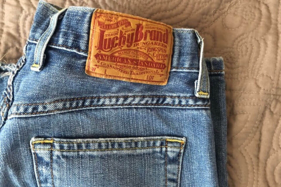 A pair of lucky jeans