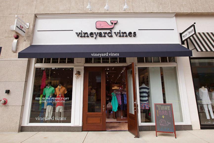 The Vineyard Vines storefront with the front door open