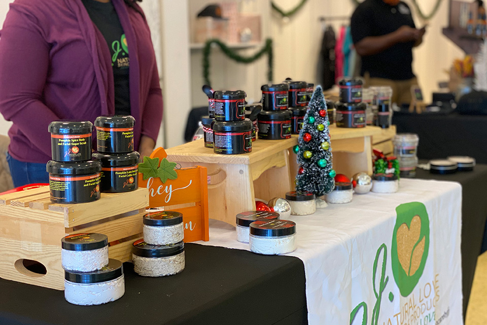 A table of retail products